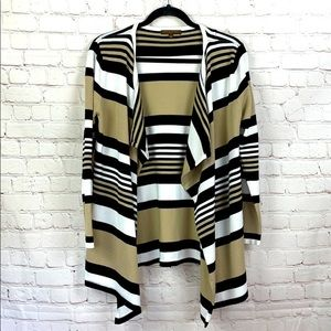 Adrienne Vittadini Striped open front cardigan Med
